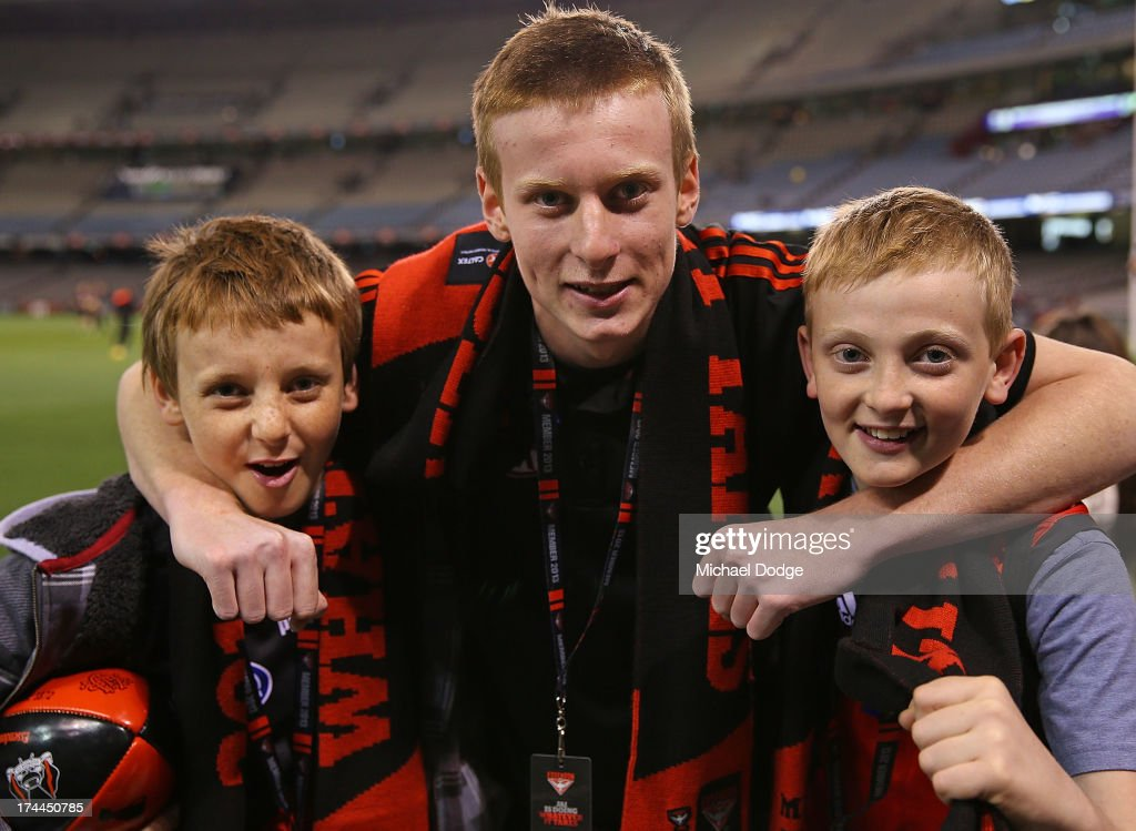 Bomber fans show their support during the round 18 AFL match between the Essendon Bombers and the Hawthorn Hawks at Etihad Stadium on July 26, 2013 in Melbourne, Australia.