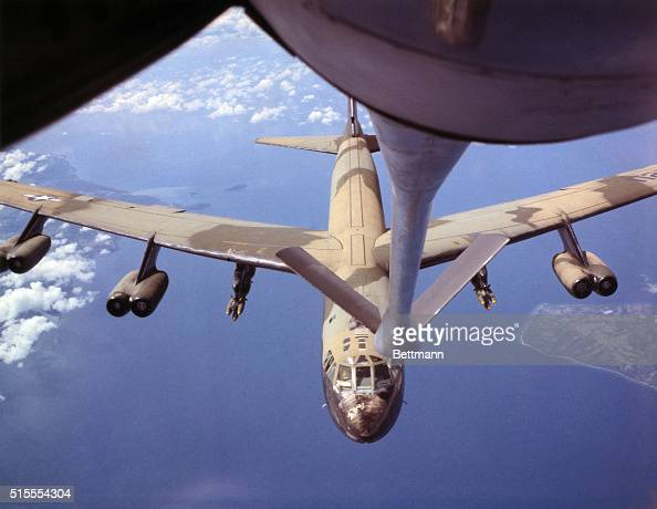 USAF Bomber refuels on way to targetA US Air Force bomber approaches a KC135 aerial tanker for refueling prior to a strike in Vietnam Air Force B52...