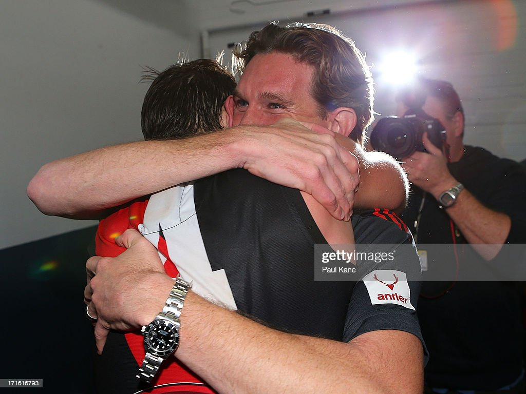 Bombers coach <a gi-track='captionPersonalityLinkClicked' href=/galleries/search?phrase=James+Hird&family=editorial&specificpeople=201975 ng-click='$event.stopPropagation()'>James Hird</a> hugs <a gi-track='captionPersonalityLinkClicked' href=/galleries/search?phrase=Jobe+Watson&family=editorial&specificpeople=235888 ng-click='$event.stopPropagation()'>Jobe Watson</a> after winning the round 14 AFL match between the West Coast Eagles and the Essendon Bombers at Patersons Stadium on June 27, 2013 in Perth, Australia.