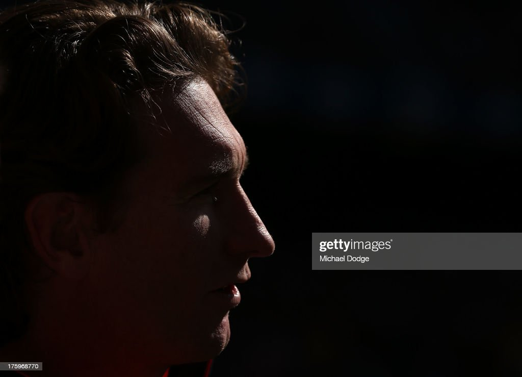 Bombers coach <a gi-track='captionPersonalityLinkClicked' href=/galleries/search?phrase=James+Hird&family=editorial&specificpeople=201975 ng-click='$event.stopPropagation()'>James Hird</a> looks ahead during the round 20 AFL match between the Essendon Bombers and the West Coast Eagles at Etihad Stadium on August 11, 2013 in Melbourne, Australia.