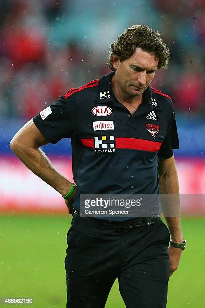 Bombers coach James Hird looks dejected after losing the Round One AFL match between the Sydney Swans and the Essendon Bombers at ANZ Stadium on...