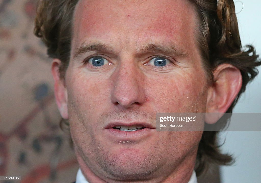 Bombers coach James Hird looks on before speaking to the media during an Essendon Bombers AFL press conference at The Olsen Hotel on August 21 2013...
