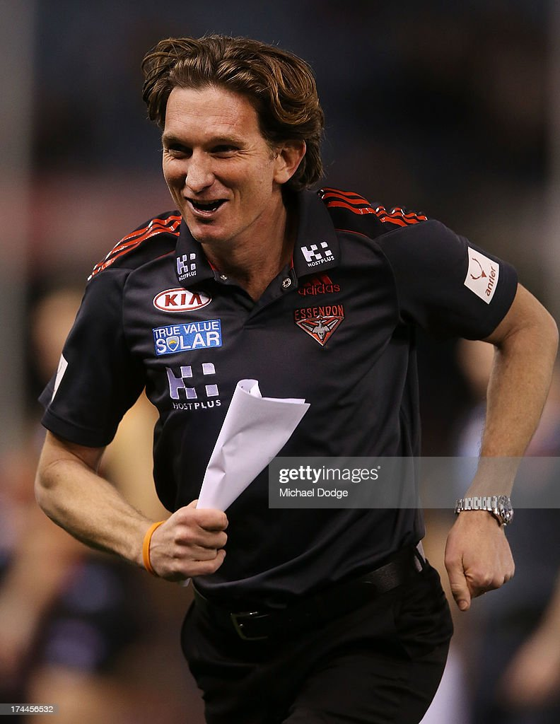 Bombers coach <a gi-track='captionPersonalityLinkClicked' href=/galleries/search?phrase=James+Hird&family=editorial&specificpeople=201975 ng-click='$event.stopPropagation()'>James Hird</a> reacts after the quarter time huddle during the round 18 AFL match between the Essendon Bombers and the Hawthorn Hawks at Etihad Stadium on July 26, 2013 in Melbourne, Australia.