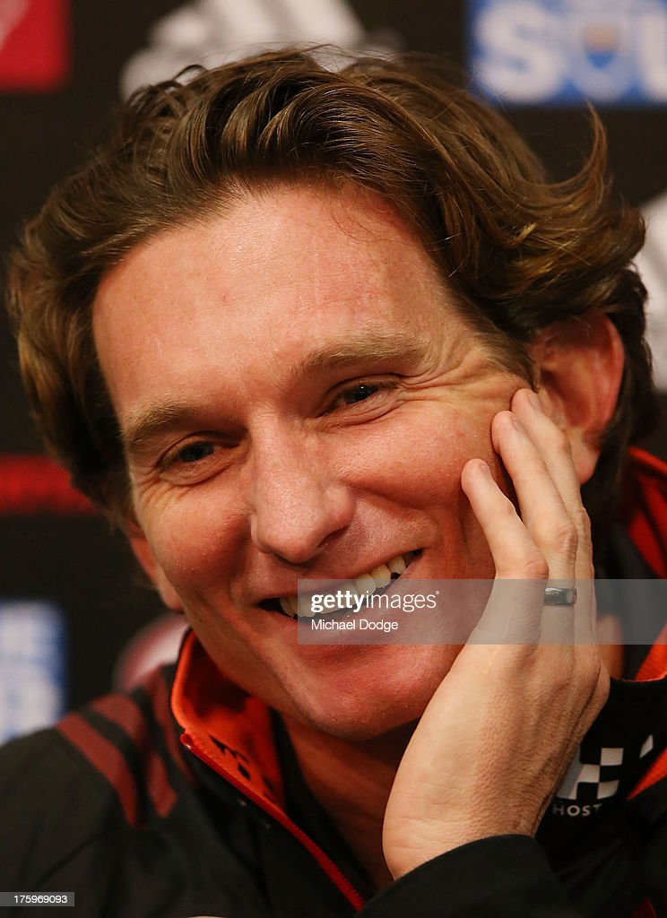Bombers coach <a gi-track='captionPersonalityLinkClicked' href=/galleries/search?phrase=James+Hird&family=editorial&specificpeople=201975 ng-click='$event.stopPropagation()'>James Hird</a> reacts during his post match interview after the round 20 AFL match between the Essendon Bombers and the West Coast Eagles at Etihad Stadium on August 11, 2013 in Melbourne, Australia.