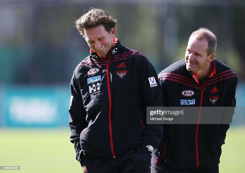 Bombers coach James Hird reacts next to assistant coach Sean Wellman during an Essendon Bombers AFL training session at Windy Hill on April 19 2013...