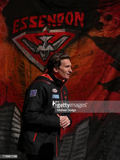 Bombers coach James Hird walks out for the warm up during the round 20 AFL match between the Essendon Bombers and the West Coast Eagles at Etihad...