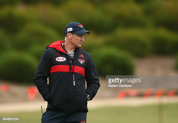 Bombers coach John Worsfold looks on during an Essendon Bombers AFL training session at True Value Solar Centre on January 14 2016 in Melbourne...