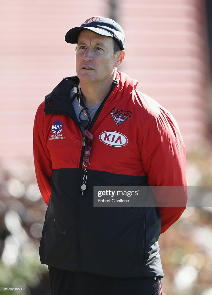 Bombers coach <a gi-track='captionPersonalityLinkClicked' href=/galleries/search?phrase=John+Worsfold&family=editorial&specificpeople=196525 ng-click='$event.stopPropagation()'>John Worsfold</a> looks on during an Essendon Bombers AFL training session at True Value Solar Centre on May 4, 2016 in Melbourne, Australia.
