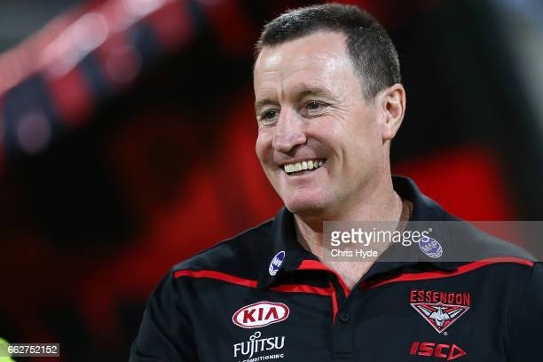 Bombers coach John Worsfold looks on during the round two AFL match between the Brisbane Lions and the Essendon Bombers at The Gabba on April 1 2017...