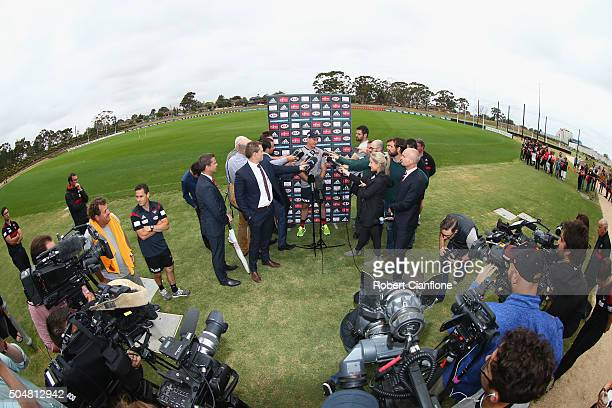 Bombers coach John Worsfold speaks to the media during an Essendon Bombers AFL training session at True Value Solar Centre on January 14 2016 in...