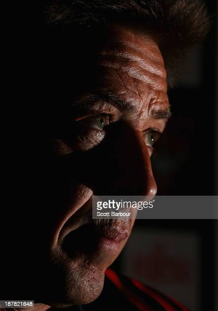 Bombers coach Mark Thompson looks on during an Essendon Bombers AFL press conference at the High Performance Centre on November 13 2013 in Melbourne...