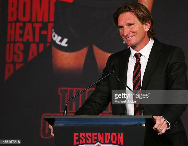 Bombers Head Coach James Hird speaks during the Essendon Bombers 2015 AFL season launch at Luminare on March 16 2015 in Melbourne Australia