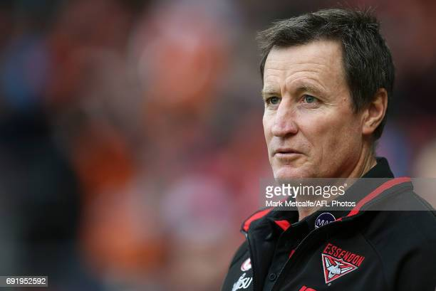 Bombers head coach John Worsfold looks on during the round 11 AFL match between the Greater Western Sydney Giants and the Essendon Bombers at...