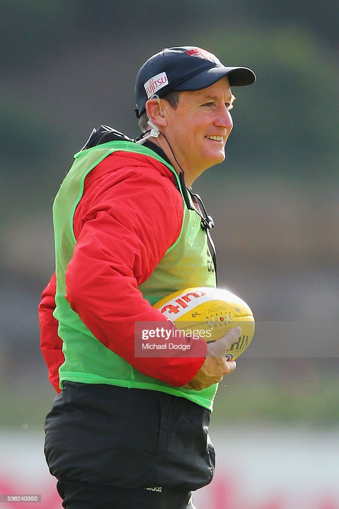Bombers head coach <a gi-track='captionPersonalityLinkClicked' href=/galleries/search?phrase=John+Worsfold&family=editorial&specificpeople=196525 ng-click='$event.stopPropagation()'>John Worsfold</a> looks upfield during an Essendon Bombers AFL training session at True Value Solar Centre on June 1, 2016 in Melbourne, Australia.