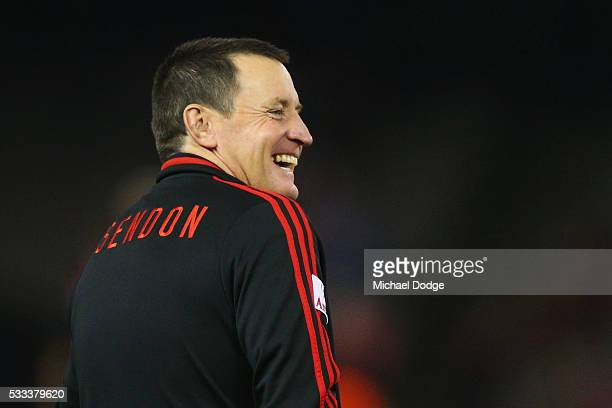 Bombers head coach John Worsfold reacts in the warm up during the round nine AFL match between the St Kilda Saints and the Essendon Bombers at Etihad...