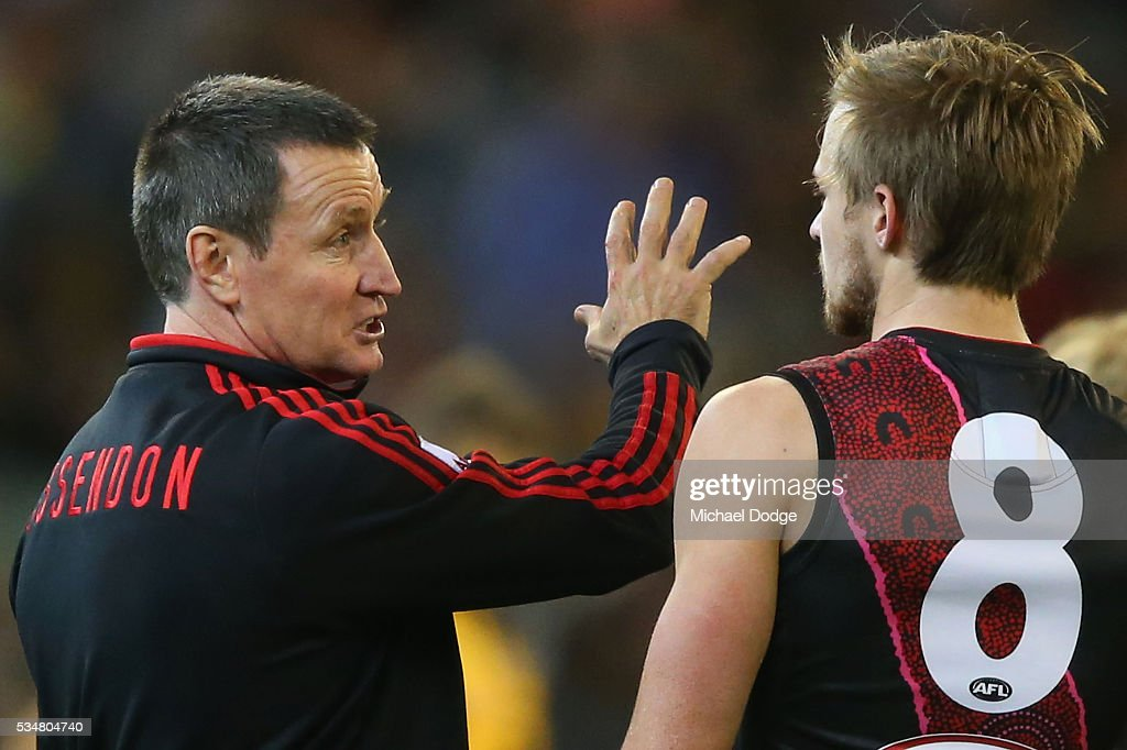 Bombers head coach <a gi-track='captionPersonalityLinkClicked' href=/galleries/search?phrase=John+Worsfold&family=editorial&specificpeople=196525 ng-click='$event.stopPropagation()'>John Worsfold</a> speaks to Martin Gleeson of the Bombers during the round 10 AFL match between the Essendon Bombers and the Richmond Tigers at Melbourne Cricket Ground on May 28, 2016 in Melbourne, Australia.