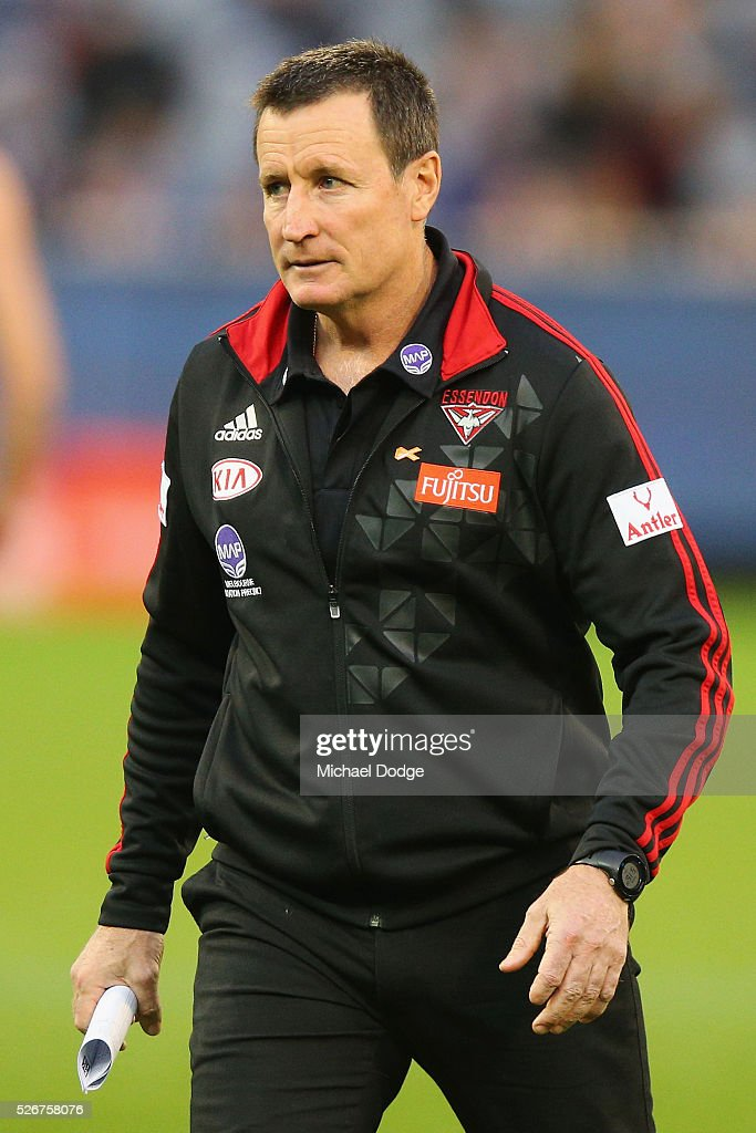 Bombers head coach John Worsfold walks off at at three quarter time during the round six AFL match between the Carlton Blues and the Essendon Bombers at Melbourne Cricket Ground on May 1, 2016 in Melbourne, Australia.