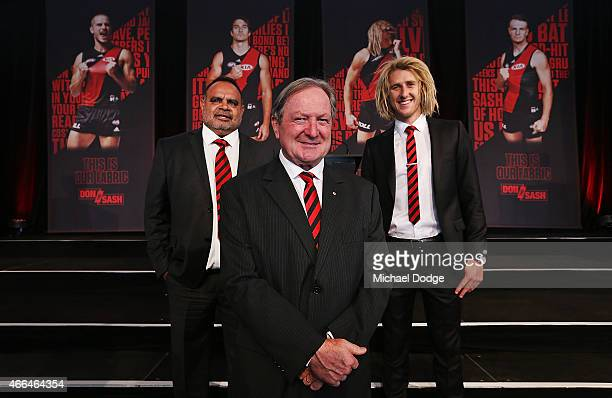 Bombers legends Michael Long Kevin Sheedy and current player Dyson Heppell pose during the Essendon Bombers 2015 AFL season launch at Luminare on...