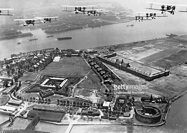 Bombers of the 11th Bombardment Wing of the First Air Division flying over Governors Island during maneuvers New York New York circa 1928