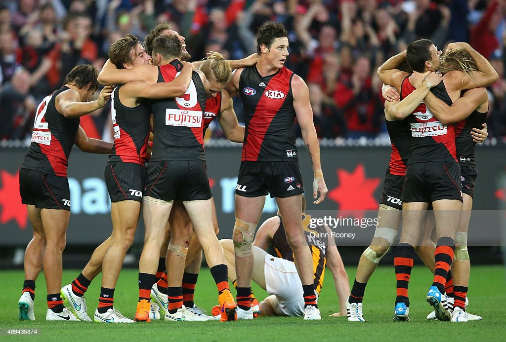 Bombers players celebrate winning the round two AFL match between the Essendon Bombers and the Hawthorn Hawks at Melbourne Cricket Ground on April 12...