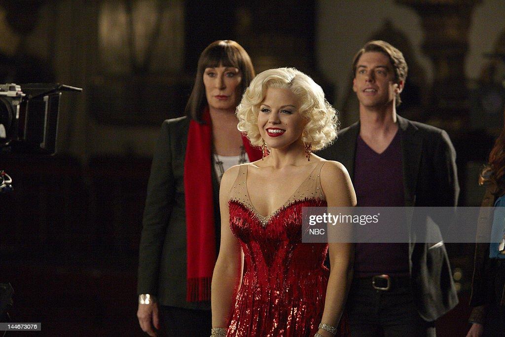 SMASH 'Bombshell' Episode 115 Pictured Anjelica Huston as Eileen Rand Megan Hilty as Ivy Lynn Christian Borle as Tom Levitt