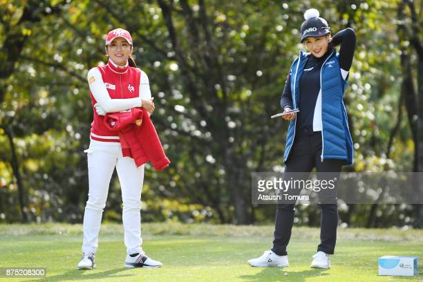BoMee Lee and HaNeul Kim of South Korea smile during the second round of the Daio Paper Elleair Ladies Open 2017 at the Elleair Golf Club on November...