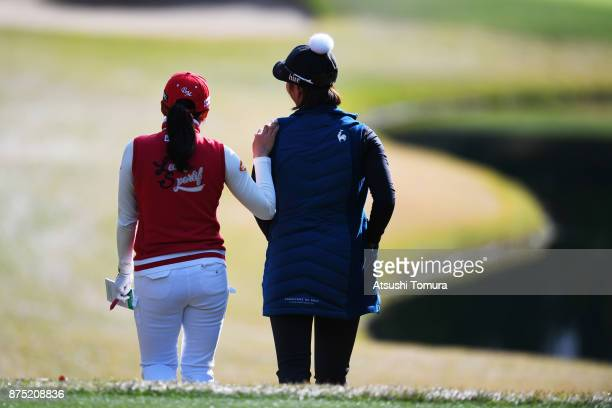 BoMee Lee and HaNeul Kim of South Korea walk on the 3rd hole during the second round of the Daio Paper Elleair Ladies Open 2017 at the Elleair Golf...