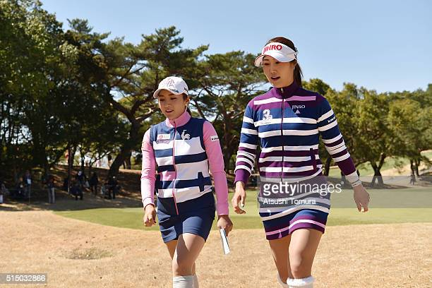 BoMee Lee of South Korea and HaNeul Kim of South Korea walk during the second round of the Yokohama Tire PRGR Ladies Cup at the Tosa Country Club on...