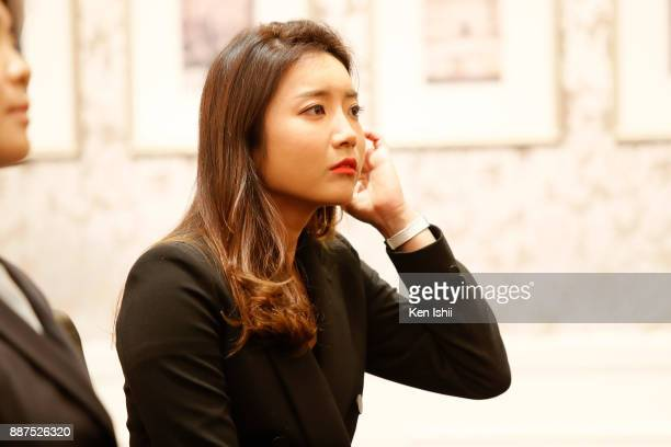 BoMee Lee of South Korea attends the Ladies Professional Golfers' Association of Japan induction ceremony at Hotel Monterey Ginza on December 7 2017...