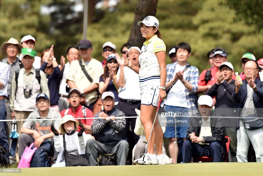 Bo-Mee Lee of South Korea celebrates after making her birdie putt on the 11th hole during the second round of the World Ladies Championship Salonpas Cup at the Ibaraki Golf Club on May 6, 2016 in Tsukubamirai, Japan.