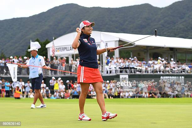 BoMee Lee of South Korea celebrates after winning putt during the final round of the CAT Ladies Golf Tournament HAKONE JAPAN 2016 at the Daihakone...