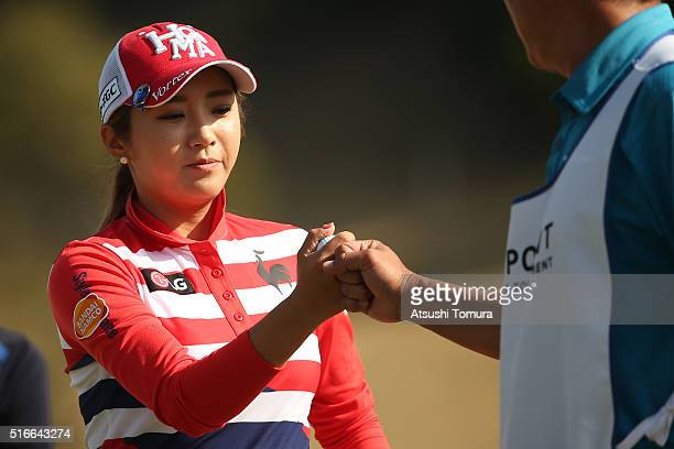 BoMee Lee of South Korea celebrates during the TPoint Ladies Golf Tournament at the Wakagi Golf Club on March 20 2016 in Takeo Japan