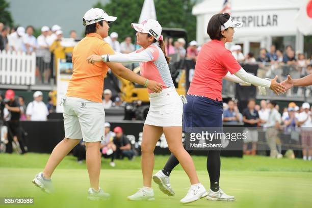 BoMee Lee of South Korea HeeKyung Bae of South Korea after winning the final round of the CAT Ladies Golf Tournament HAKONE JAPAN 2017 at the...
