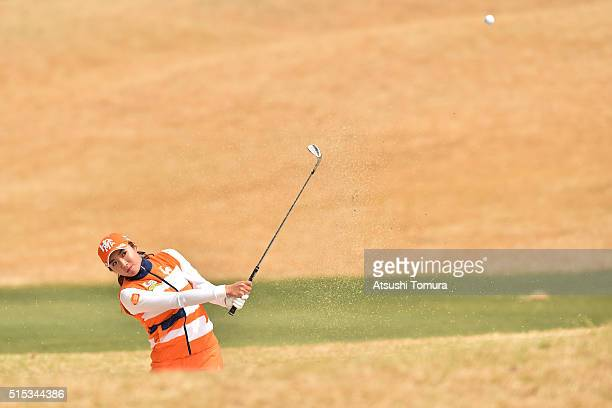 BoMee Lee of South Korea hits from a bunker on the 15th hole during the final round of the Yokohama Tire PRGR Ladies Cup at the Tosa Country Club on...