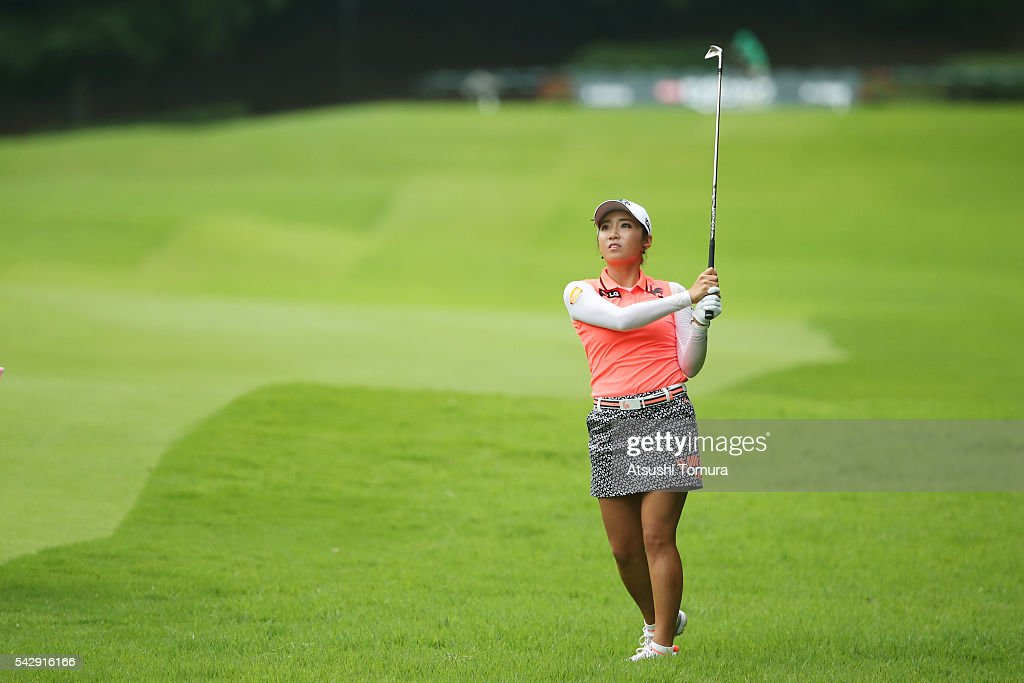 Bo-Mee Lee of South Korea hits her second shot on the 16th hole during the third round of the Earth Mondamin Cup at the Camellia Hills Country Club on June 25, 2016 in Sodegaura, Japan.