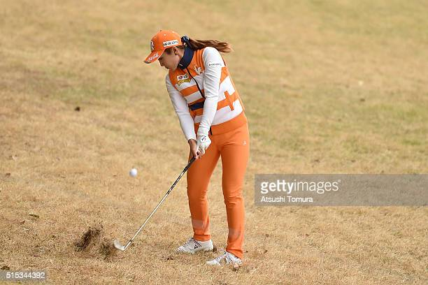 BoMee Lee of South Korea hits her second shot on the 18th hole during the final round of the Yokohama Tire PRGR Ladies Cup at the Tosa Country Club...