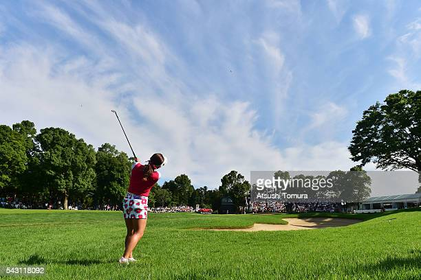 BoMee Lee of South Korea hits her second shot on the 18th hole during the final round of the Earth Mondamin Cup at the Camellia Hills Country Club on...
