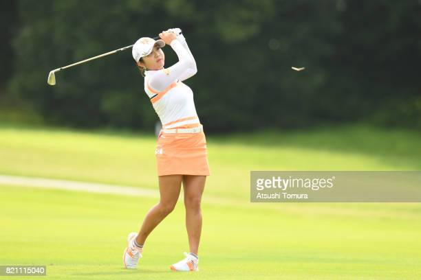 BoMee Lee of South Korea hits her second shot on the 2nd hole during the final round of the Century 21 Ladies Golf Tournament 2017 at the Seta Golf...