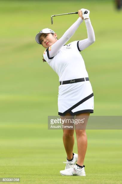 BoMee Lee of South Korea hits her second shot on the 3rd hole during the first round of the Century 21 Ladies Golf Tournament 2017 at the Seta Golf...