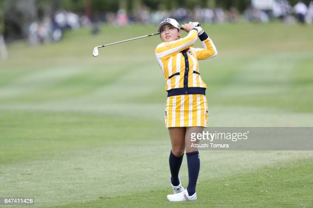 BoMee Lee of South Korea hits her second shot on the 9th hole during the second round of the Daikin Orchid Ladies Golf Tournament at the Ryukyu Golf...