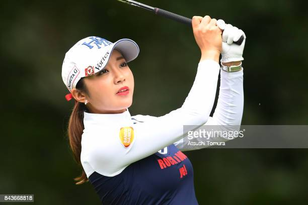 BoMee Lee of South Korea hits her tee shot on the 12th hole during the first round of the 50th LPGA Championship Konica Minolta Cup 2017 at the Appi...