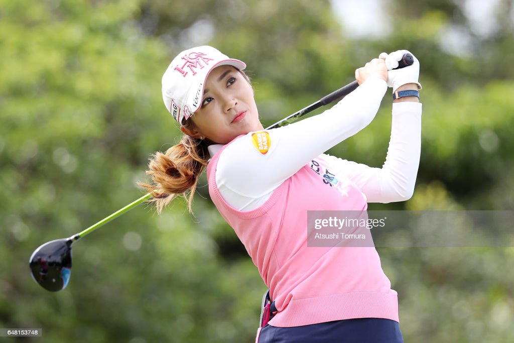 Bo-Mee Lee of South Korea hits her tee shot on the 15th hole during the final round of the Daikin Orchid Ladies Golf Tournament at the Ryukyu Golf Club on March 5, 2017 in Nanjo, Japan.