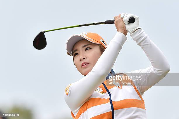 BoMee Lee of South Korea hits her tee shot on the 16th hole during the final round of the Yokohama Tire PRGR Ladies Cup at the Tosa Country Club on...