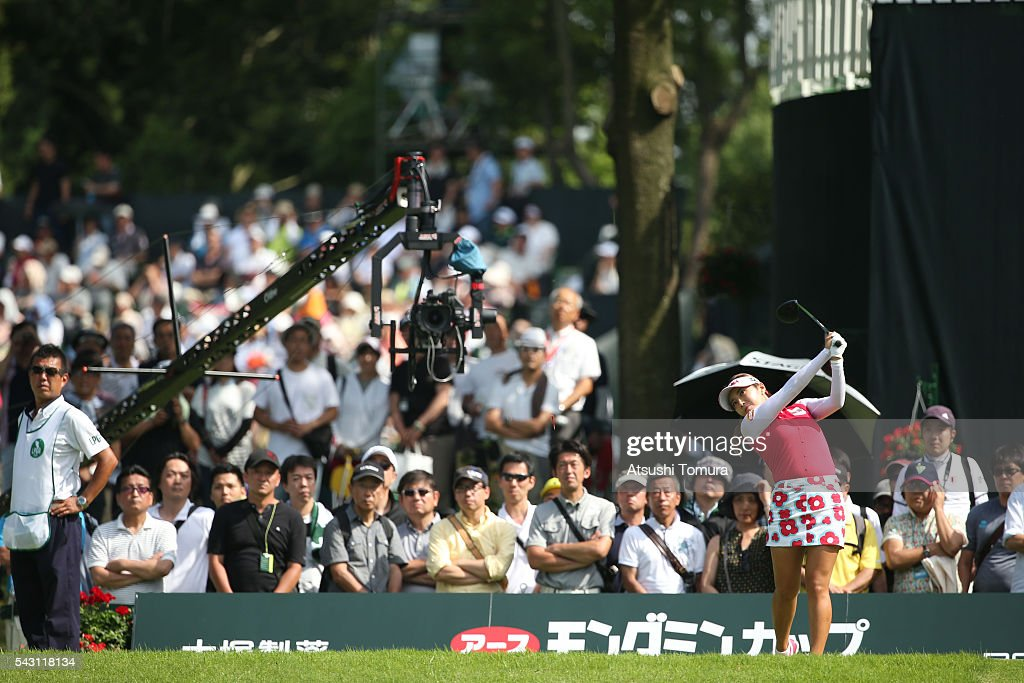 Bo-Mee Lee of South Korea hits her tee shot on the 17th hole during the final round of the Earth Mondamin Cup at the Camellia Hills Country Club on June 25, 2016 in Sodegaura, Japan.