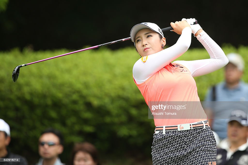 Bo-Mee Lee of South Korea hits her tee shot on the 2nd hole during the third round of the Earth Mondamin Cup at the Camellia Hills Country Club on June 25, 2016 in Sodegaura, Japan.