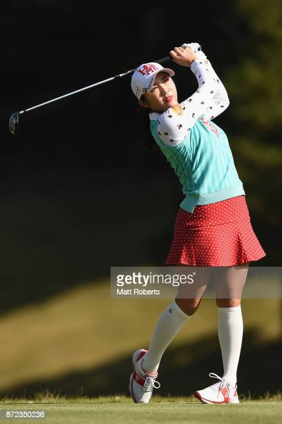 BoMee Lee of South Korea hits her tee shot on the 2nd hole during the first round of the Itoen Ladies Golf Tournament 2017 at the Great Island Club...