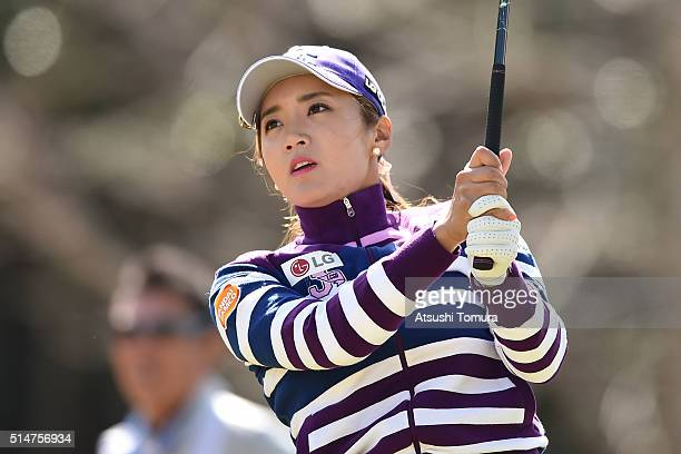 BoMee Lee of South Korea hits her tee shot on the 3rd hole during the first round of the Yokohama Tyre PRGR Ladies Cup at the Tosa Country Club on...