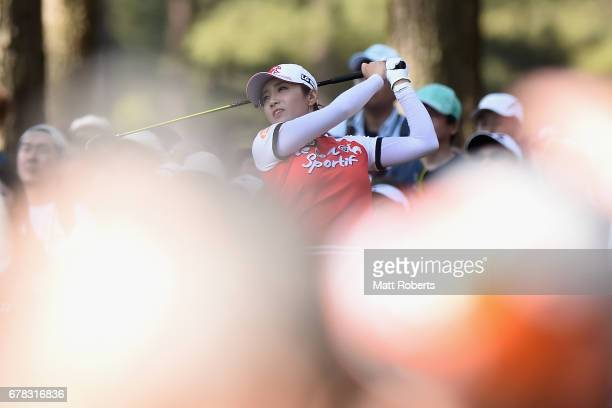 BoMee Lee of South Korea hits her tee shot on the 3rd hole during the first round of the World Ladies Championship Salonpas Cup at the Ibaraki Golf...