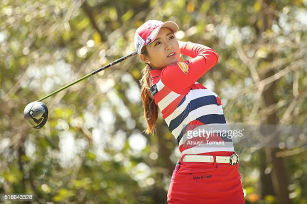 BoMee Lee of South Korea hits her tee shot on the 4th hole during the TPoint Ladies Golf Tournament at the Wakagi Golf Club on March 20 2016 in Takeo...