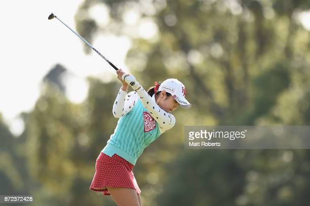 BoMee Lee of South Korea hits her tee shot on the 7th hole during the first round of the Itoen Ladies Golf Tournament 2017 at the Great Island Club...